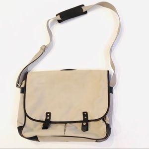 Banana Republic canvas leather trim messenger bag